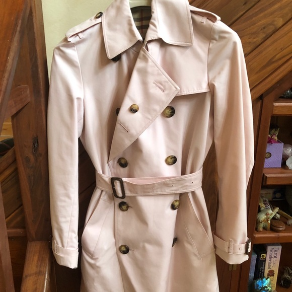 Soft pink Burberry trench coat